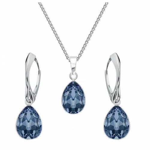 Set bijuterii Argint 925, Set SWAROVSKI Crystals Glamour Montana + CADOU Laveta profesionala pentru curatat bijuteriile din argint