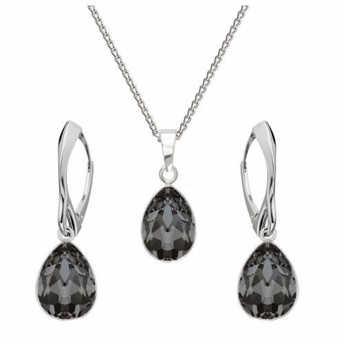 Set bijuterii Argint 925, Set SWAROVSKI Crystals Glamour Night + CADOU Laveta profesionala pentru curatat bijuteriile din argint