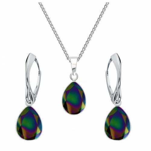 Set bijuterii Argint 925, Set SWAROVSKI Crystals Glamour Rainbow + CADOU Laveta profesionala pentru curatat bijuteriile din argint