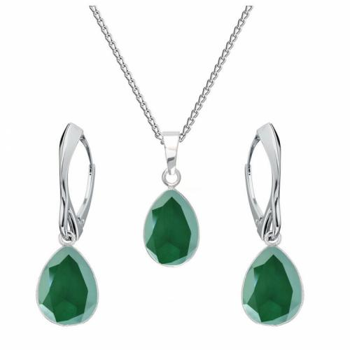 Set bijuterii Argint 925, Set SWAROVSKI Crystals Glamour Royal Green + CADOU Laveta profesionala pentru curatat bijuteriile din argint