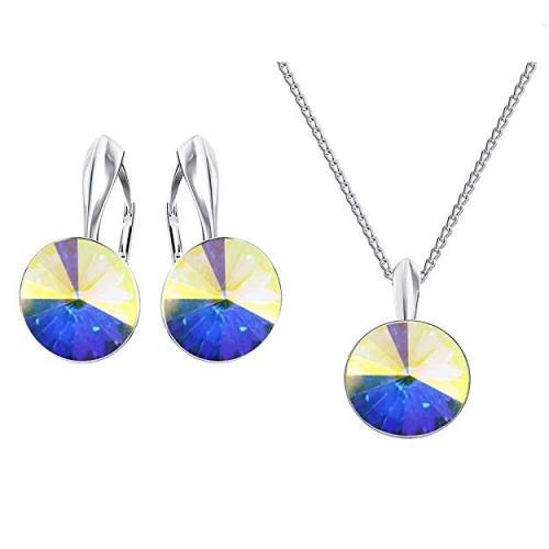 Set bijuterii Argint 925, Set SWAROVSKI Crystals Grace (2) Aurore Boreale + CADOU Laveta profesionala pentru curatat bijuteriile din argint