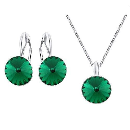 Set bijuterii Argint 925, Set SWAROVSKI Crystals Grace (2) Emerald + CADOU Laveta profesionala pentru curatat bijuteriile din argint