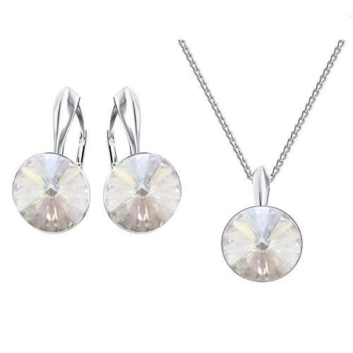 Set bijuterii Argint 925, Set SWAROVSKI Crystals Grace (2) Moonlight + CADOU Laveta profesionala pentru curatat bijuteriile din argint