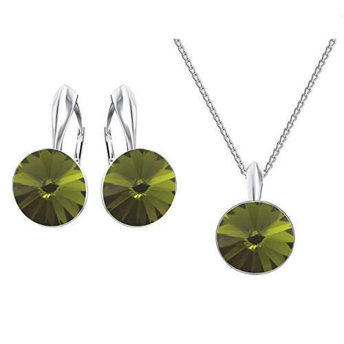 Set bijuterii Argint 925, Set SWAROVSKI Crystals Grace (2) Olivine + CADOU Laveta profesionala pentru curatat bijuteriile din argint
