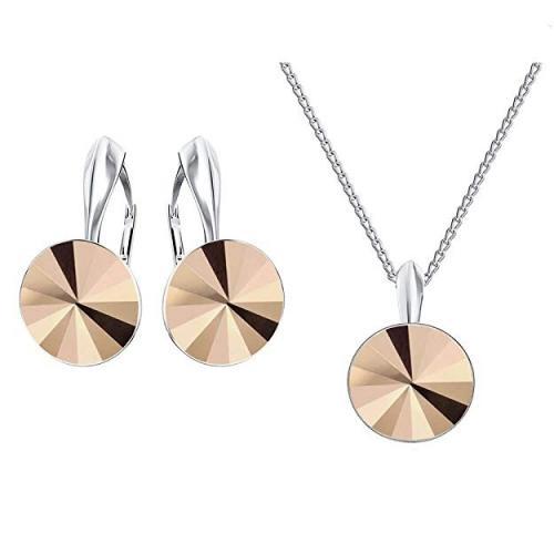 Set bijuterii Argint 925, Set SWAROVSKI Crystals Grace (2) Rose Gold + CADOU Laveta profesionala pentru curatat bijuteriile din argint