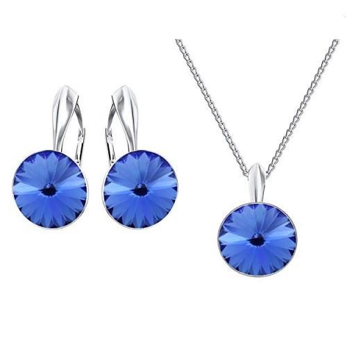 Set bijuterii Argint 925, Set SWAROVSKI Crystals Grace (2) Sapphire + CADOU Laveta profesionala pentru curatat bijuteriile din argint