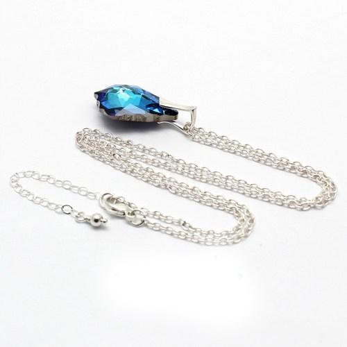 Set bijuterii Argint 925, Set SWAROVSKI Electric Blue + CADOU Laveta profesionala pentru curatat bijuteriile din argint + Cutie Cadou