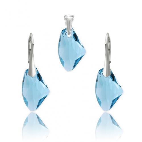 Set bijuterii Argint 925, Set SWAROVSKI Galactic Aquamarine + CADOU Laveta profesionala pentru curatat bijuteriile din argint + Cutie Cadou