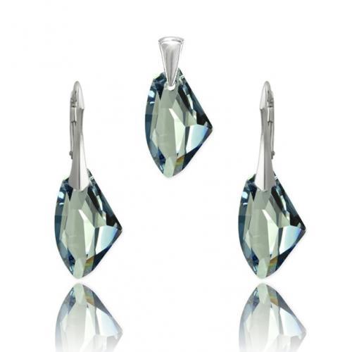 Set bijuterii Argint 925, Set SWAROVSKI Galactic Blue Shade + CADOU Laveta profesionala pentru curatat bijuteriile din argint + Cutie Cadou