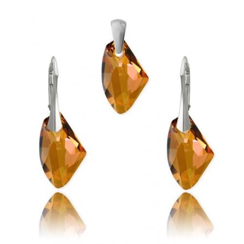 Set bijuterii Argint 925, Set SWAROVSKI Galactic Copper + CADOU Laveta profesionala pentru curatat bijuteriile din argint + Cutie Cadou