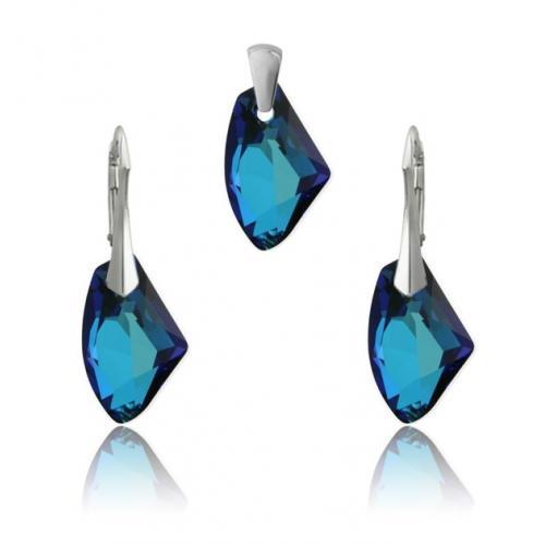 Set bijuterii Argint 925, Set SWAROVSKI Galactic Electric Blue + CADOU Laveta profesionala pentru curatat bijuteriile din argint + Cutie Cadou