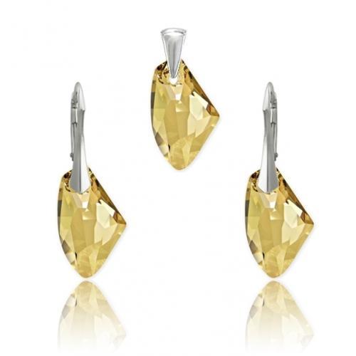 Set bijuterii Argint 925, Set SWAROVSKI Galactic Gold + CADOU Laveta profesionala pentru curatat bijuteriile din argint + Cutie Cadou