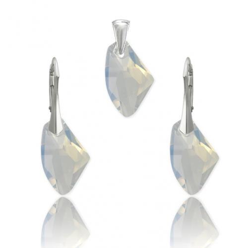 Set bijuterii Argint 925, Set SWAROVSKI Galactic White Opal + CADOU Laveta profesionala pentru curatat bijuteriile din argint + Cutie Cadou