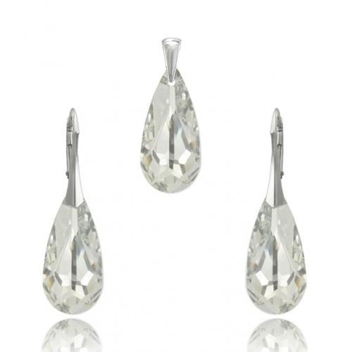 Set bijuterii Argint 925, Set SWAROVSKI Vogue Crystal CAL 24mm + CADOU Laveta profesionala pentru curatat bijuteriile din argint + Cutie Cadou