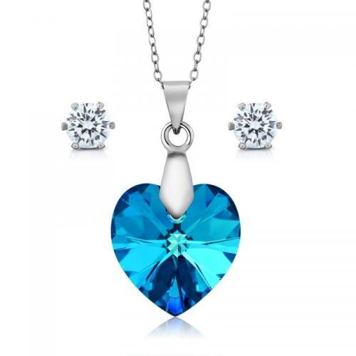Set bijuterii Ocean din Argint 925 si cristale SWAROVSKI Crystals + CADOU Laveta profesionala pentru curatat bijuteriile din argint