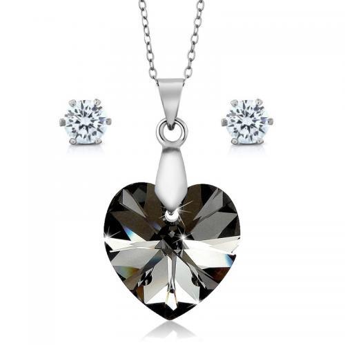 Set bijuterii Ocean Night din Argint 925 si cristale SWAROVSKI Crystals + CADOU Laveta profesionala pentru curatat bijuteriile din argint