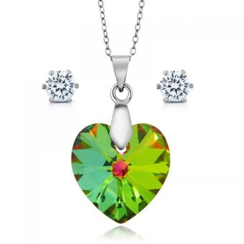 Set bijuterii Ocean Vitrail din Argint 925 si cristale SWAROVSKI Crystals + CADOU Laveta profesionala pentru curatat bijuteriile din argin